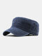 Men Cotton Solid Color Outdoor Sunshade Military Hat Flat Hat Peaked Cap - Navy
