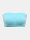 Women Solid Color Seamless Wireless Removable Chest Pad Bandeau Bra - Sky Blue