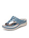 SIKETU Women Casual Solid Color Stitching Howllow Out Comfortable Wedges Heel Hand Made Clip Toe Slippers - Light Blue
