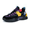 Men Stylish Color Contrast Lace-up Hard Wearing Chunky Sneaker Shoes - Black Purple