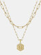 Luxury 14K Gold Plated Hexagonal Women Necklace Gold Layered Paperclip Link 26 Initials Pendant Necklace - G