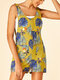 Leaves Print Button Pocket Short Sleeveless Casual Romper for Women - Yellow