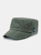 Men Solid Color Keep Warm Outdoor Flat Hat Military Hat - Green