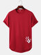 Mens Hand Print High Low Curved Hem Sports Short Sleeve T-Shirts - Wine Red
