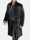 Men Long Trench Marten Velvet Overcoat Black Faux Fur Winter Warm Thicking Coat
