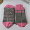 Mens Women Cotton Humor Words Printed Socks Casual Sport Lovers Socks - Pink+Grey