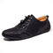 Men Hole Breathable Soft Driving Leather Loafers - Black