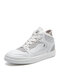 Women Casual Letter Decor Warm Lining Lace Up High Top Sneakers - Beige