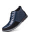 Men Stitching Plaid Comfy Non Slip Business Casual Leather Ankle Boots - Blue