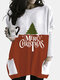 Christmas Print Patchwork Pocket Long Sleeve Casual Blouse For Women - White
