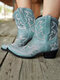 Women Folkways Floral Embroidered Chunky Heel Slip-On Short Cowboy Boots - Blue