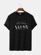 Mens Funny Skeleton Print Halloween Short Sleeve 100% Cotton T-Shirts - Black