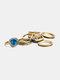 Alloy Vintage 8 PCS Diamond Gem Exaggerated Combination Ring Set - Blue