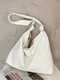 Simple Large Capacity Soft Fabric Versatile Knotted Adjustable Shoulder Strap Tote - White