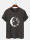 Mens Celestial Cactus Graphic 100% Cotton Short Sleeve T-Shirts - Dark Gray