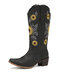 Women Casual Sunflowers Electric Embroidery Pattern Slip On Mid-Calf Cowboy Boots - Black
