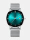 Alloy Business Gradient Color Multi-function Mesh Strap Watch - Sliver+Green