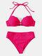 Women Solid Ribbed Underwire Push Up Halter String Back Closure Bikinis Swimwear - Rose