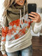 Contrast Color Patchwork Print Casual Hoodie For Women - Orange