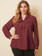 Solid Color V-neck Long Sleeve Knotted Plus Size Blouse for Women - Red