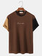 Mens Design Embroidery Contrasting Color Patchwork Short Sleeve T-Shirt - Brown