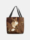 Women Felt Cat Print Handbag Shoulder Bag Tote - Coffee