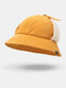 Women Corduroy Plus Hat Circumference Ear Protection Tie Keep Warm Bucket Hat - Yellow
