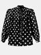 Dot Print Puff Long Sleeve Loose Knotted Blouse For Women - Black