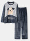 Women Cute Dog Letter Embroidery Round Neck Double Flannel Thick Pajamas Set With Pocket - Navy
