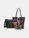 Women 4 PCS Snake Large Capacity Handbag Shoulder Bag - Coffee