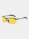 Men Metal Square Half Frame Smart Color-changing Polarized Anti-UV Sunglasses - #07