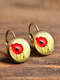 Vintage Flower Pattern Women Earrings Glass Printed Pendant Earrings Ear Hooks - #16