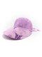 Women Cotton Linen Butterfly Flower Pattern Printing Big Brim Breathable Straw Hats - Purple