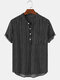 Mens Pinstripe Stand Collar Casual Short Sleeve Henley Shirts With Pocket - Black
