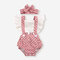 Baby Leopard Sunflower Print Flying Sleeves Patchwork Rompers For 6-24M - #02