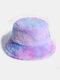 Donna Colorful Cappello secchio in peluche caldo Cappello da secchio elegante selvaggio sfumato esterno - #02