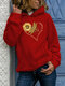 Sunflowers Print Long Sleeve Casual Plus Size Hoodie - Red