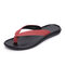 Men Cow Leather Slip Resistant Soft Sole Clip Toe Casual Slippers - Red