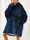 Women Flannel Warm Wearable Blanket Hoodie Oversized Comfy Solid Sweatshirt Hooded Robe With Pouch Pocket - Blue