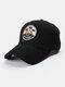 Unisex Cotton Embroidery Pattern Curve Brim Sunshade Fashion Baseball Hat - Black
