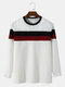 Mens Colorblock Stitching Knitted Texture Long Sleeve Overhead T-Shirt - White