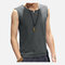Mens Casual Vintage Cotton V-Neck Sleeveless Tank Tops Loose Chinese Style Retro T-shirt