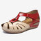LOSTISY Women Color Block Wearable Peep Toe Casual Wedges Sandals - Red