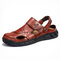 Men Cow Leather Hand Stitching Non Slip Soft Sole Casual Sandals - Red Brown