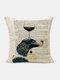 Animal Head Wine Glass Pattern Linen Cushion Cover Home Sofa Art Decor Throw Pillowcase - #13