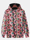 Mens Allover Alien Skull Pattern Print Loose Daily Pullover Hoodies With Kangaroo Pocket - Red