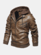 Mens PU Leather Fake Two Pieces Thickened Hooded Long Sleeve Coats Jackets - Brown
