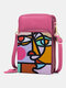 Women PU Leather Colorful Figure Pattern Printed Crossbody Bag 6.5 Inch Phone Bag - Red
