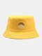 Women & Men Rainbow Embroidery Pattern Casual Outdoor Visor Bucket Hat - Yellow