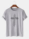 Mens 100% Cotton Printed Breathable Casual O-Neck Short Sleeve T-shirts - Gray